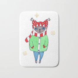 Cute Siamese Cat in Winter Scarf, Hat, Mittens, and Coat Bath Mat
