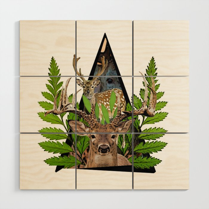 Jungle Animal Deer ArtWork Wood Wall Art