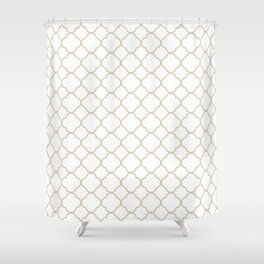 Clover Quatrefoil Pattern: Beige Shower Curtain