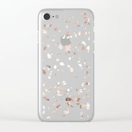 Blush Pink + Rose Gold Terrazzo Clear iPhone Case