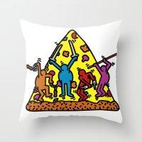 keith haring Throw Pillows featuring Haring - Ninja by Krikoui
