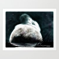 A Girl and Her Moon Art Print