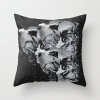 skulls Throw Pillows featuring Skulls by Mrs Araneae