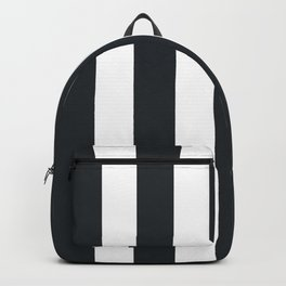 Dark gunmetal blue - solid color - white vertical lines pattern Backpack