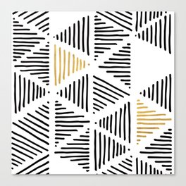 Simple Geometric Zig Zag Pattern - Black Gold White - Mix & Match with Simplicity of life Canvas Print