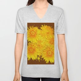 ABSTRACTED COFFEE BROWN   FIRST SPRING YELLOW DANDELIONS Unisex V-Neck