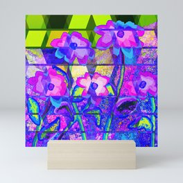 Flowers and Green Rectangles Mini Art Print