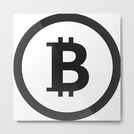 Bitcoin black logo icon Metal Print