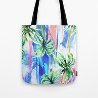 palm trees Tote Bags featuring Palm trees by Nikkistrange