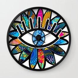 Greek Evil Eye Blue Flower Wall Clock