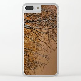Snowy Tree Silhouette Reaching into the Orange Sky Clear iPhone Case