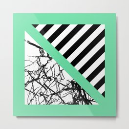 Stripes N Marble - Black and white geometric stripes and marble pattern, bold on green background Metal Print