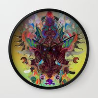 ganesha Wall Clocks featuring Ganesha by Archan Nair
