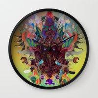 ganesha Wall Clocks featuring Ganesha by Archan Nair