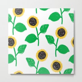 Hand-drawn sunflowers in naive style on white background Metal Print