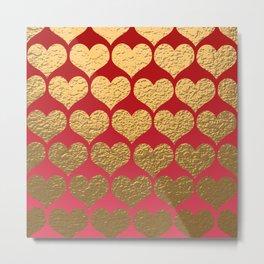 Gold Metallic Hearts Print Pattern Design Metal Print