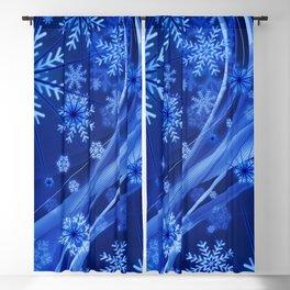 Blue Snowflakes Winter Blackout Curtain