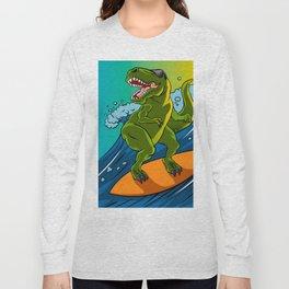 Cartoon illustration of a dinosaur surfing. Long Sleeve T-shirt