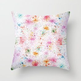 Spatters, splashes and sprays drawing method. Throw Pillow