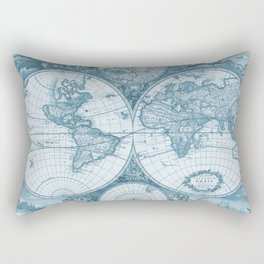 Antique Blue Map Rectangular Pillow
