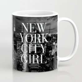New York City Girl Black & White Skyline Vogue Typography Coffee Mug