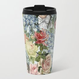 Vintage Botanical Flower Lady with Hut Pattern Travel Mug
