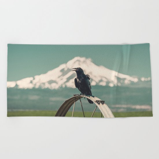 Mt. Jefferson Raven Beach Towel