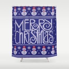 Merry Christmas from Snowman Shower Curtain