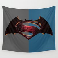 superman Wall Tapestries featuring Batman/Superman by DeBUM