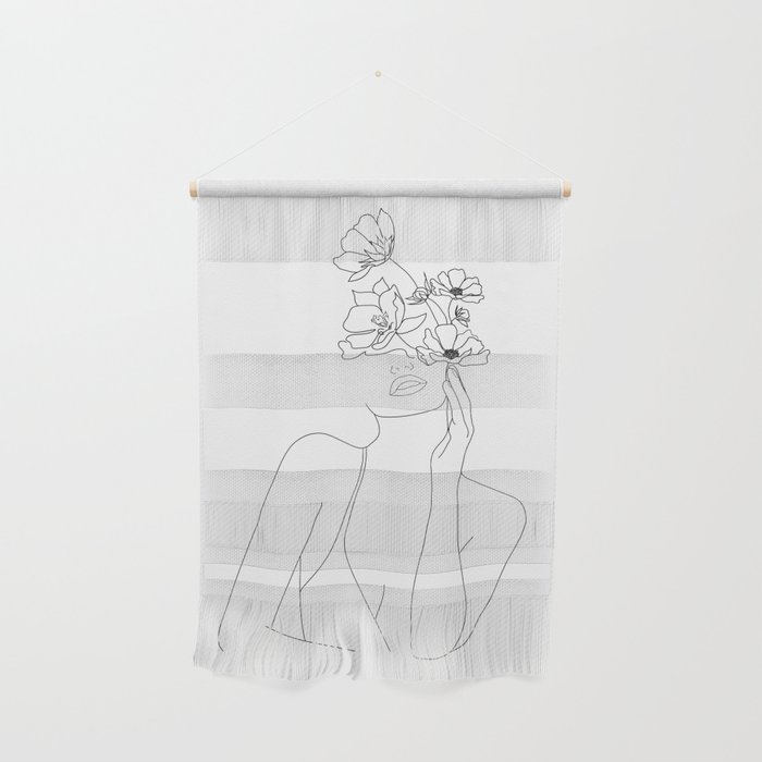 Minimal Line Art Woman with Flowers Wall Hanging