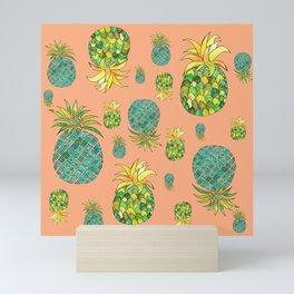 Pineapple pattern vintage style Mini Art Print