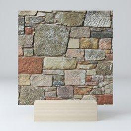 Stone Wall Fieldstones in Grey, Gold and Red Flagstone Mini Art Print