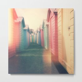 Beach Huts 02B - Retro Metal Print