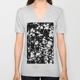 Black and white contrast ink spilled paint mess Unisex V-Neck