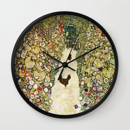Gustav Klimt Garden Path With Chickens Wall Clock