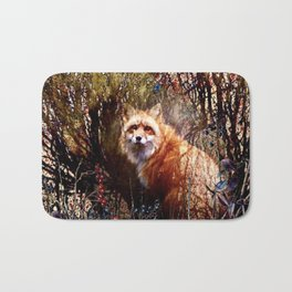 Fox And Red Berries Bath Mat