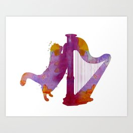 Cat and harp Art Print
