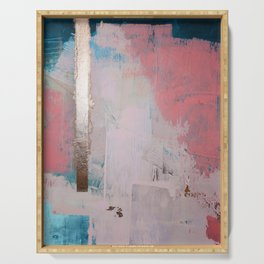 Morning Light: a minimal abstract mixed-media piece in pink gold and blue by Alyssa Hamilton Art Serving Tray