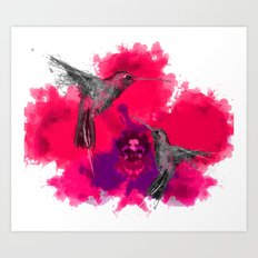 Pink hum orchid explosion  Art Print