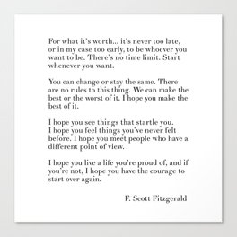 fitzgerald for what it's worth Canvas Print