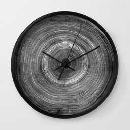 Black and White Tree Woodcut Wall Clock