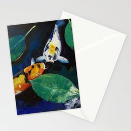 Koi and Banyan Leaves Stationery Cards