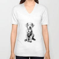 puppy V-neck T-shirts featuring Puppy by Molly Morren
