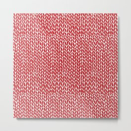 Hand Knit Red Metal Print