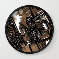 cityscape Wall Clocks featuring Cityscape by David Miley