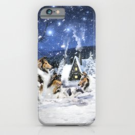 Rough Collies and Lambs in Magic Fairytale Winter Night iPhone Case