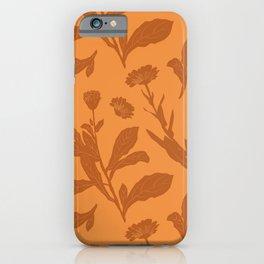 Block Print Marigold Floral in Orange iPhone Case
