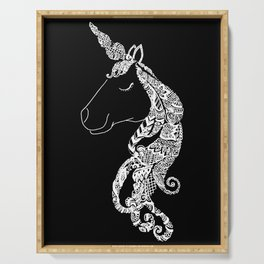 The Ivory Unicorn - Zentangle monochrome Serving Tray