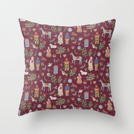 Swedish Folk Art - Red Throw Pillow