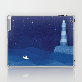Lighthouse & the paper boat, blue ocean Laptop & iPad Skin
